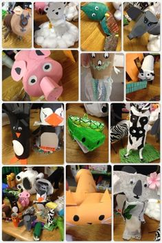 The Green Classroom: Recycled Animals Project - Each child creates a different animal at home using recycled materials and brings it to school to share with the class. Fun environmental education project!