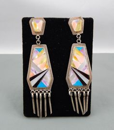 Vintage Native American Zuni Jet Coral Inlay Sterling Drop Earrings Signed IM
