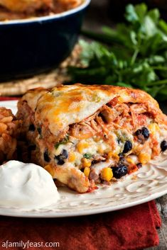 Mexican Lasagna with White Sauce.creamy lasagna filled cheese, beans, corn and chicken in a zesty cream sauce Classic Lasagna Recipe, Best Lasagna Recipe, Lasagna Recipes, Taco Lasagna, Seafood Lasagna, Lasagna Rolls, Bread Recipes, Churro, Mexican Dishes