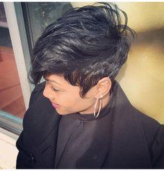 Like the River Salon in Atlanta Hairstylist: Najah Aziz Short Sassy Hair, Short Hair Cuts, Short Hair Styles, Pixie Styles, Short Pixie, Edgy Pixie, Pixie Cuts, Love Hair, Great Hair
