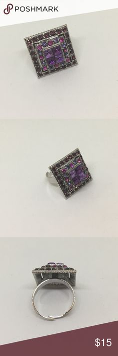 🆕Vintage Square Silver and Purple Rhinestone Ring A perfect square, with mixed purple crystals on a silver adjustable ring starting at size 7. In excellent vintage condition. Just brilliant! Vintage Jewelry Rings