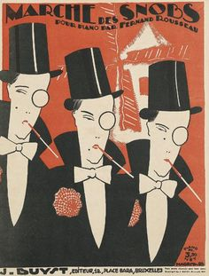 """'Marche des Snobs,' sheet music cover by Rene Magritte. """"Young Magritte made rent by working as a draughtsman at a wallpaper factory and designing graphic ephemera, among which were some 40 sheet music covers he produced in the Art Deco Posters, Rene, Sheet Music Art, Illustration, Art Deco Illustration, Magritte Art, Vintage Sheet Music, Art, Vintage Posters"""