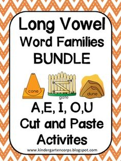 Long Vowels Bundle: Long A, Long E, Long I, Long O, Long U Cut and Paste Activities - Students use letter tiles to segment the sounds in words onto Elkonin Boxes. Great for Phoneme Segmentation Fluency.