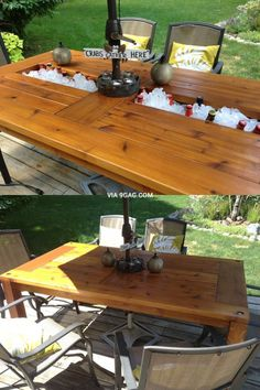 Table with built in drink cooler ~ shouldn't all dining tables have a drink well?
