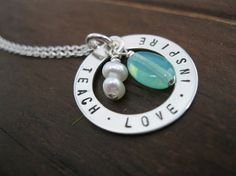 Personalized Hand Stamped Sterling Silver Necklace Circle of Inspiration  end of the year teacher gift