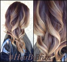 Heavy beige high contrast balayage with a medium beige base color.