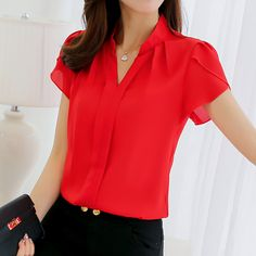 b9f2568a2c38 Bodycon Leisure Chiffon Short Sleeve Blouse. Red BlousesFashion  BlousesSummer ...