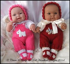 """Dungaree Set 14"""" 'Lots to Love' Berenguer doll-lots to love, bathtime baby, berenguer, knitting pattern, doll, babydoll handknit designs"""