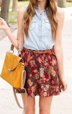 Chambray + florals + mustard