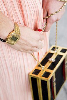 Maxi dress and vintage bag
