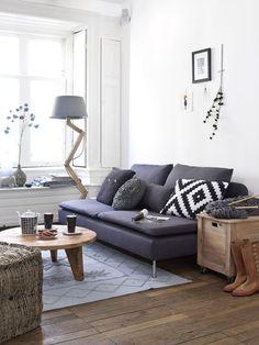 Estor enrollable salón estilo nórdico : via MIBLOG