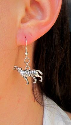 wolf earring coyote animal charm jewelry Werewolf Earrings  halloween party Werewolf Costume Fantasy Game of thrones gift Winter coming (4.60 USD) by Lovelyblackpanther