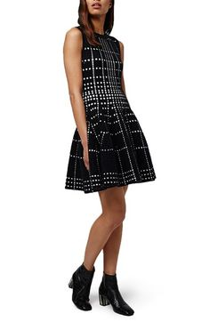 Free shipping and returns on Topshop Dot Jacquard Fit & Flare Knit Dress at…