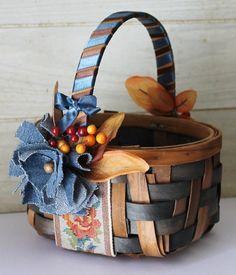 Wedding Flower Girl Basket  Rustic Chic  by ForeverDenimandLace, $28.00