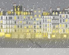 Paris winter/Paris  snow/Paris ILLUSTRATION AFFICHE/DECORATION Paris Snow, Paris Winter, Paris Illustration, City Photo, Fine Art, Shop, Prints, Etsy, Vintage
