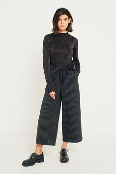 Slide View: 1: Light Before Dark Pinstripe Pull-On Culottes