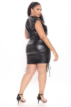 Available In Black. Faux Leather Mini Dress High Neck Sleeveless Shoulder Pads Ruched Drawstrings Pull On Stretch 97% Polyester 3% Spandex Imported California Proposition 65 WARNING: This product can expose you to chemicals including Urethane (Ethyl carbamate), which are known to the State of California to cause cancer and birth defects or other reproductive harm. For more information go to www.P65Warnings.ca.gov.   Camryn Faux Leather Mini Dress in Black size 2X by Fashion Nova Rompers Women, Jumpsuits For Women, Black Leather Mini Skirt, Lingerie Accessories, Swimsuits For Curves, Curves Clothing, Curve Dresses, Women Lingerie, Sweaters For Women