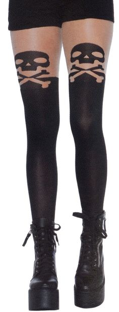 BLACK SKULL AND CROSSBONES OPAQUE STOCKINGS WITH SHEER THIGH