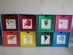 Geography workshops: the world: the continents with the contents of the boxes - Montessori Elementary, Montessori Education, Montessori Materials, French Basics, Les Continents, Teachers Aide, Maria Montessori, National Flag, Classroom Themes