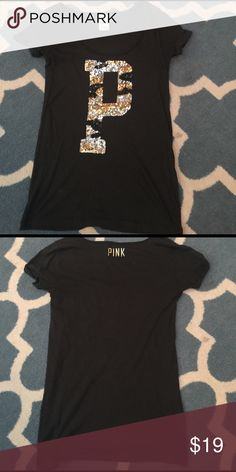 VS pink sequined top Sequined top  very cute.  Gently used PINK Victoria's Secret Tops Tees - Short Sleeve