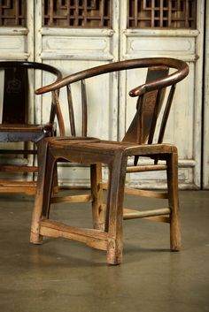 Set of Six Antique Chinese Elm Dining Chairs With Arms amd Hand Carved Back Detail Shanxi Region, Late 19th Century