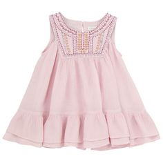 Sleeveless dress made of crumpled fine cotton voile. Three buttons at the back. Emboideries on the chest. Folk Fashion, Kids Fashion, Baby Dress Patterns, Cotton Dresses, Dress Making, Pink Dress, Girl Outfits, Collection, Jasmine