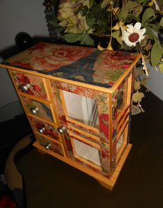 $65. (J9) Upcycled, French Country, Vintage, Jewelry Box, Decoupaged, Floral, Burgundy, Golden Yellow
