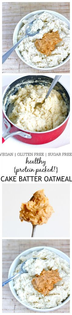 } Cake Batter Oatmeal- The taste and texture of a classic cake batter but in a healthy breakfast oatmeal form! This Cake Batter Oatmeal is gluten free, dairy free, sugar free and has a vegan option- Perfect to be eaten hot OR cold! Gluten Free Breakfasts, Gluten Free Recipes, Vegan Recipes, Cooking Recipes, Healthy Protein, Healthy Snacks, Healthy Eating, Protein Cake, Egg Protein