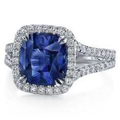 5.42ct Blue Sapphire & Diamond Engagement ring by blueriver47, $6780.67