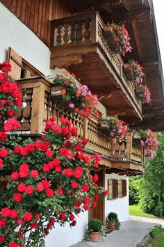 Traditional house in Bavaria.Flowers on the balconies in Bad Wiessee am Tegernsee, Bavaria, Germany Bad Wiessee, Wonderful Places, Beautiful Places, Beautiful Flowers, German Houses, Alpine Style, Swiss Chalet, Bavaria Germany, Window Boxes
