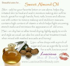 Beautiful uses for sweet almond oil from Luscious Skin & Beauty
