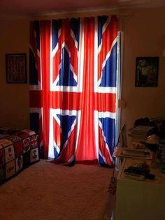 British flag curtains.