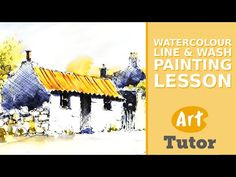 Watercolour Line & Wash Painting Lesson - YouTube