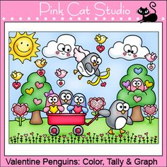 Valentine Penguins: Color, Tally and Graph Activity - FREE!