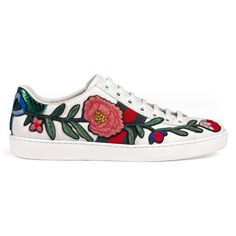 Gucci Ace Embroidered Low-Top Sneaker ($625) ❤ liked on Polyvore featuring shoes, sneakers, gucci, women, low profile sneakers, embroidered sneakers, floral print sneakers, floral shoes and floral-print shoes