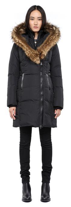 Mackage - KAY-F4 LONG BLACK WINTER DOWN COAT FOR WOMEN WITH FUR HOOD