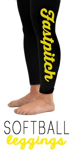 Our fast-pitch leggings are crazy popular because they look awesome and they are insanely comfy! Perfect for around town, at home lounging or at the gym....anywhere! Choose white or yellow printing and they are available in youth and adult sizes. Our softball leggings are the perfect gift idea for any softball girl!