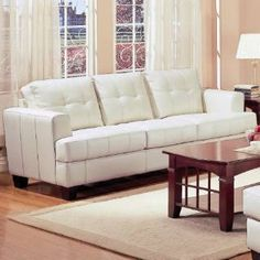 Check out the Coaster Furniture 501691 Samuel Contemporary Leather Sofa in Cream
