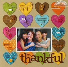 Thankful multi colored hearts Scrapbook page