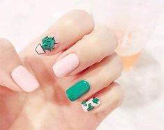 Hot selling fashion Cactus pattern fake nails Japanese cream pure color cute false nails with glue lady full nail tips by Comebackshop on Etsy Summer Acrylic Nails, Cute Acrylic Nails, Cute Nail Art, Glue On Nails, Summer Nails, Cute Nails, Pretty Nails, My Nails, Nails For Kids
