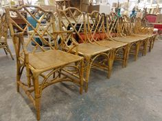 Set Of 8 Italian Chippendale Rattan Chairs