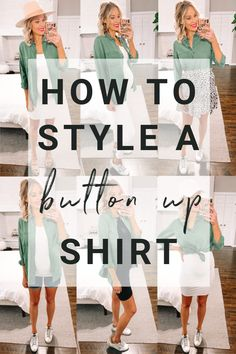 If a chambray shirt and a utility jacket are two of your wardrobe staples, then this post is for you! Today I am sharing how to style a button up shirt. More specifically, I am sharing 8 ways to wear a utility shirt. The army green is so much fun! #buttonupshirt #utilityshirt #armygreenshirt #utilityjacket #howto #chambrayshirt