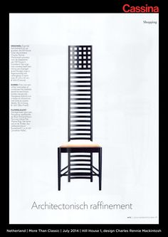 Netherland | More Than Classic | July 2014 | Hill House 1, design Charles Rennie Mackintosh | Discover more on: http://cassina.com/it/collezione/sedie-e-poltroncine/292-hill-house-1