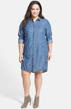 Eileen Fisher Classic Collar Chambray Shirtdress (Plus Size) available at #Nordstrom