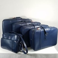 American-Tourister-5-Piece-Luggage-Set-Blue-Vintage-Soft-Side-Suitcase-Tote-Bag