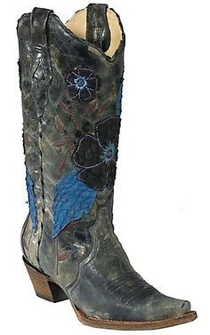 Corral® Ladies Distressed Grey Black w/ Daisy Embroidery Snip Toe Western Boots   Cavender's Boot City