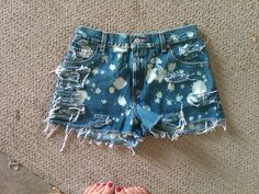 """DIY :) Originally """"Mom"""" jeans now high waisted shorts with bleached spots."""