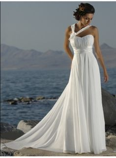 Sexy Empire One-Shoulder Chapel Train Chiffon Charmeuse Wedding Dress with Ruffle (002000447)-JJs House ($118)