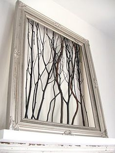 Wall art with sticks and a frame!