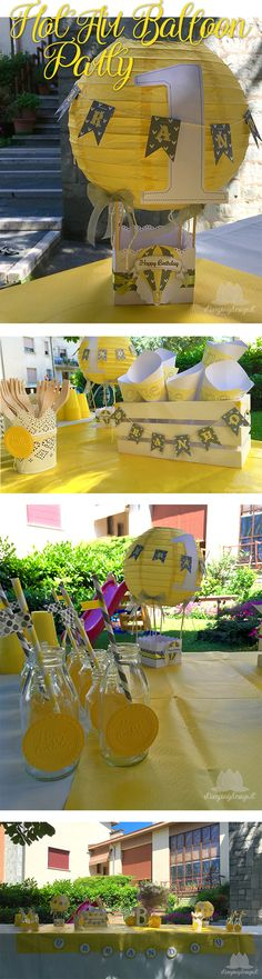 Hot Air Balloon Party in yellow and grey! www.stampingdesign.it